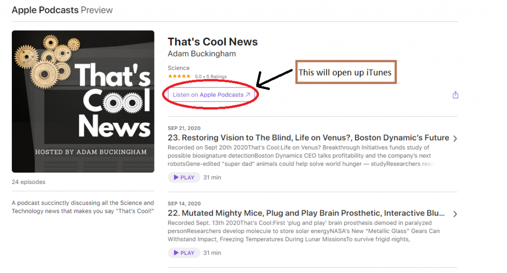 open That's Cool News in iTunes